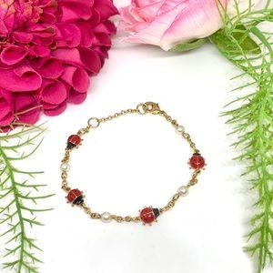 VINTAGE⚜️Ladybug & Faux Pearl Golden Link Bracelet
